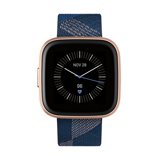 Умные часы Fitbit Versa 2 Special Edition (Navy & Pink Woven/Copper Rose). Фото N2