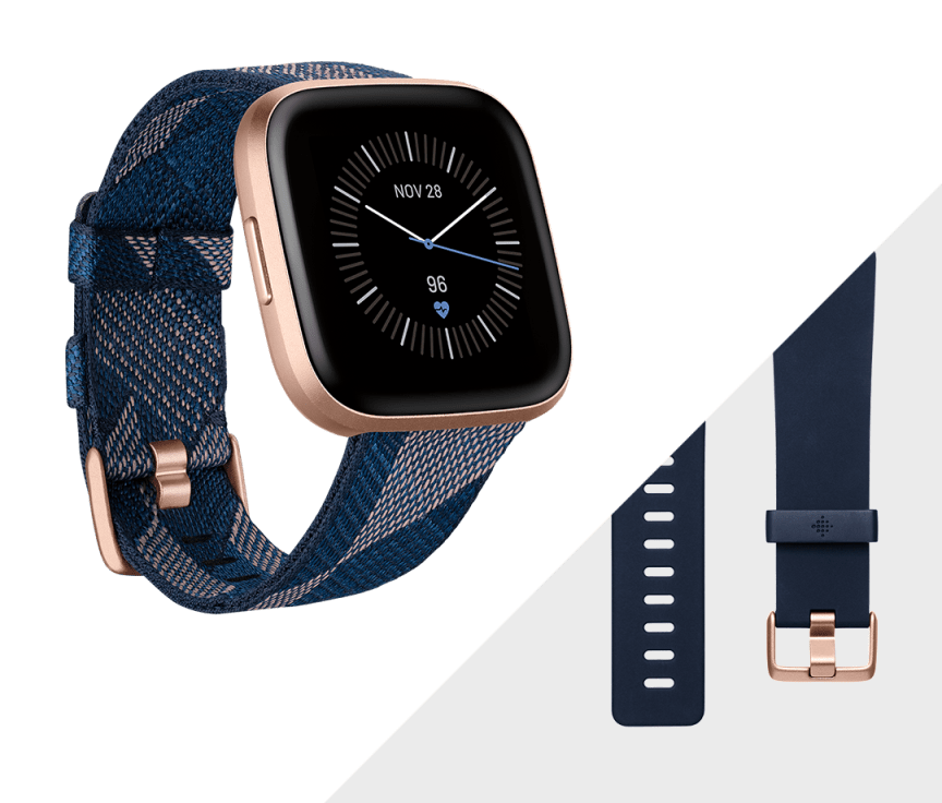 Умные часы Fitbit Versa 2 Special Edition (Navy & Pink Woven/Copper Rose). Фото N5