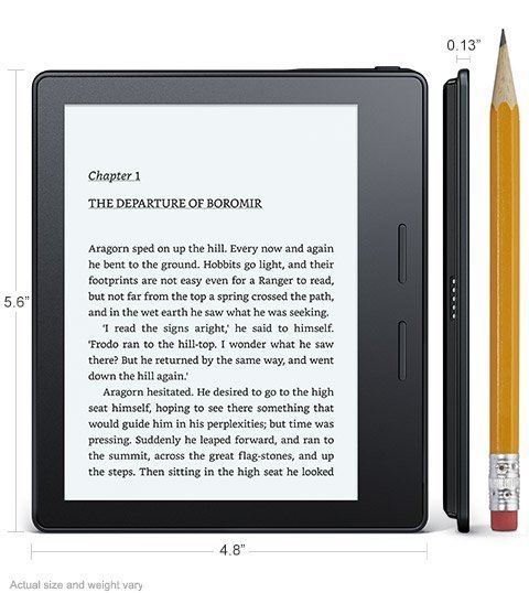 Электронная книга Amazon Kindle Oasis with Leather Charging Cover Black (Special Offers). Фото N2