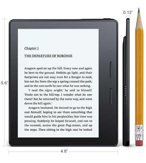 Электронная книга Amazon Kindle Oasis with Leather Charging Cover Black Wi-Fi + 3G (Special Offers). Фото N5