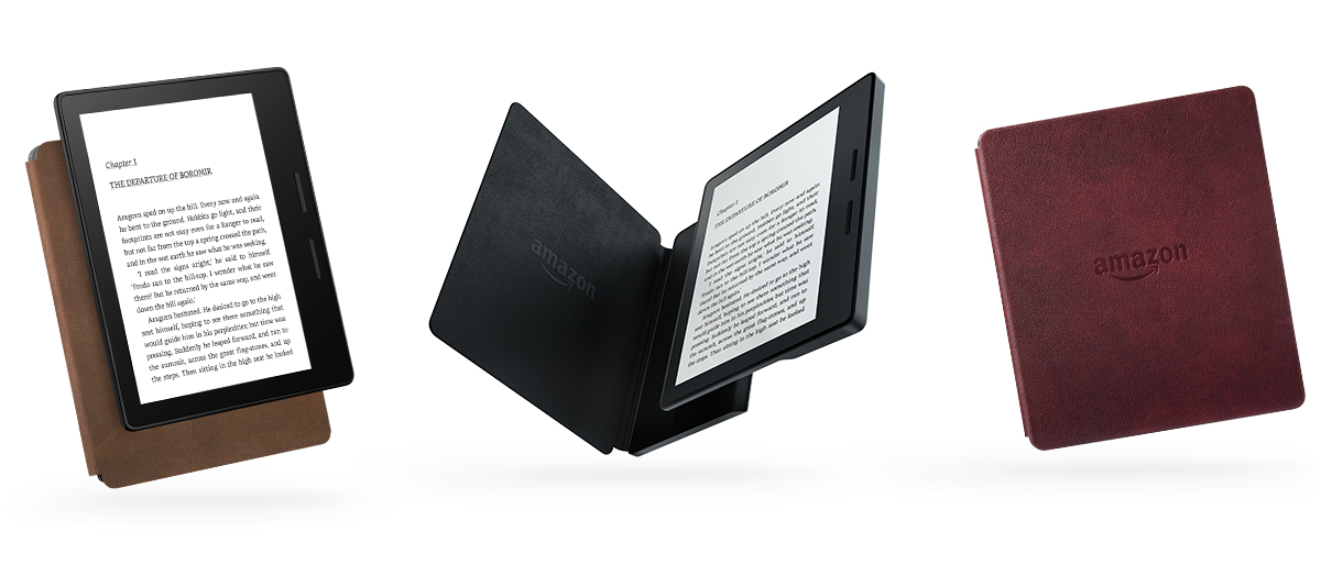 Электронная книга Amazon Kindle Oasis with Leather Charging Cover Walnut Wi-Fi + 3G (Без рекламы). Фото N2
